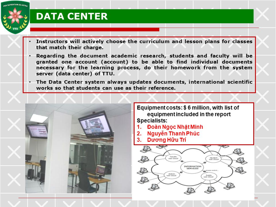 DATA CENTER Instructors will actively choose the curriculum and lesson plans for classes that match their charge.