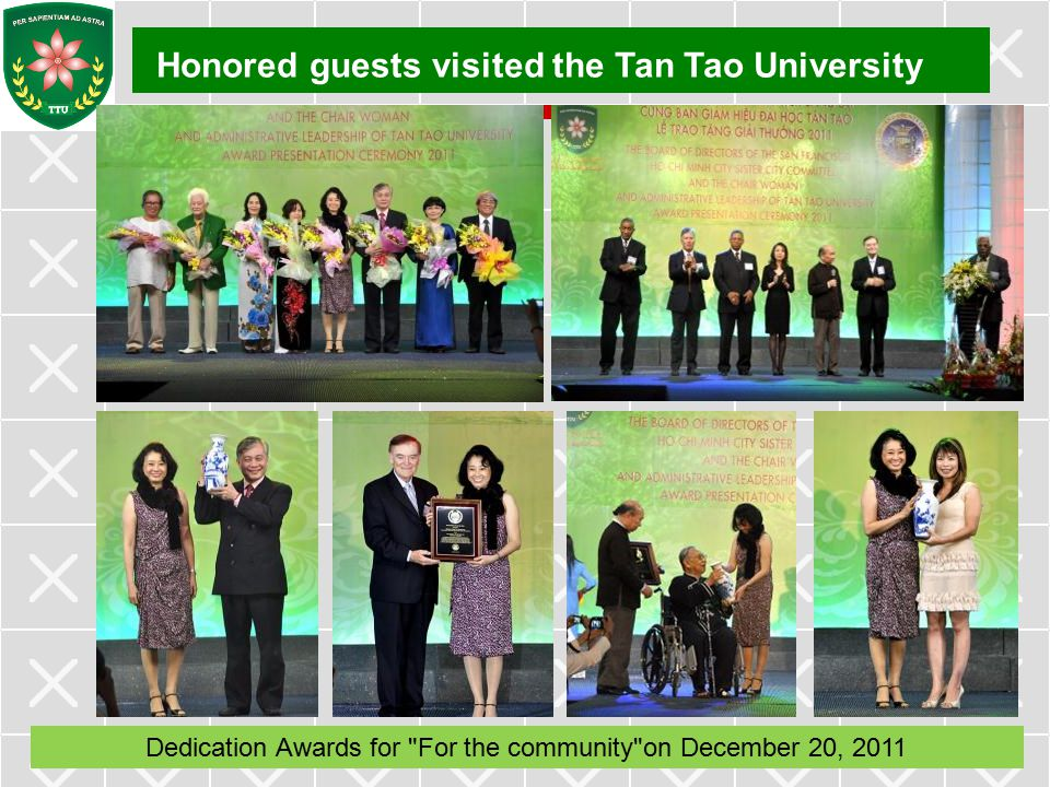 Dedication Awards for For the community on December 20, 2011