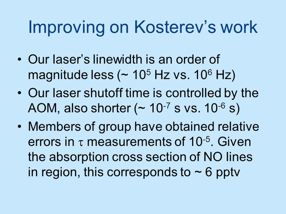 Improving on Kosterev's work