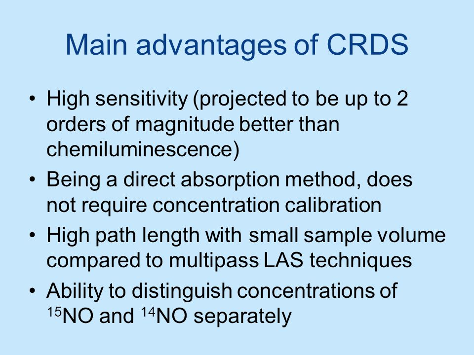Main advantages of CRDS
