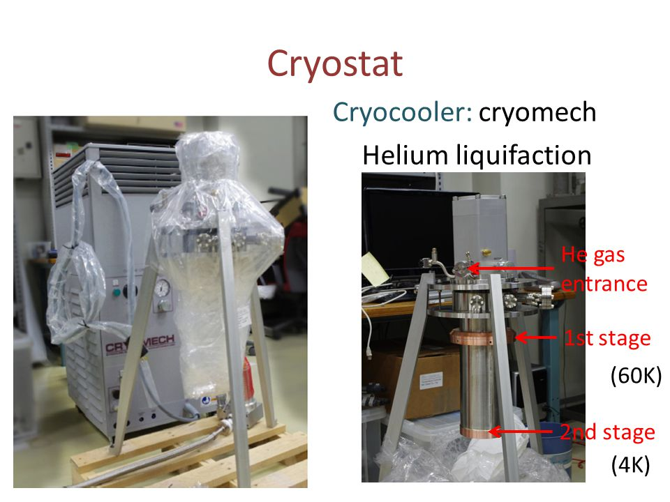 Cryostat Cryocooler: cryomech Helium liquifaction He gas entrance