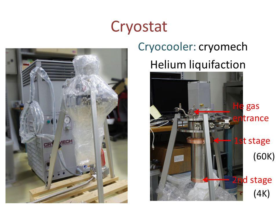 Cryostat Cryocooler: cryomech Helium liquifaction He gas entrance