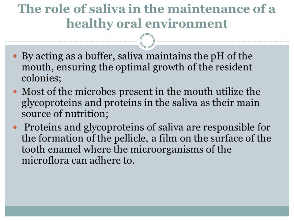 The role of saliva in the maintenance of a healthy oral environment