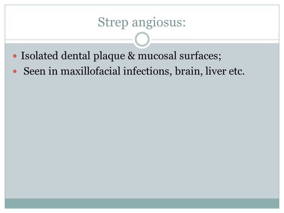 Strep angiosus: Isolated dental plaque & mucosal surfaces;