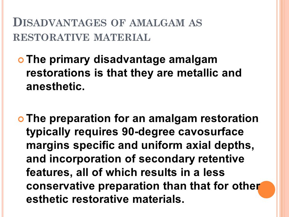 Disadvantages of amalgam as restorative material