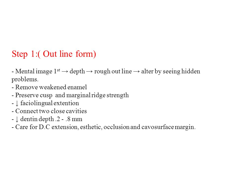 Step 1:( Out line form) - Mental image 1st → depth → rough out line → alter by seeing hidden problems.