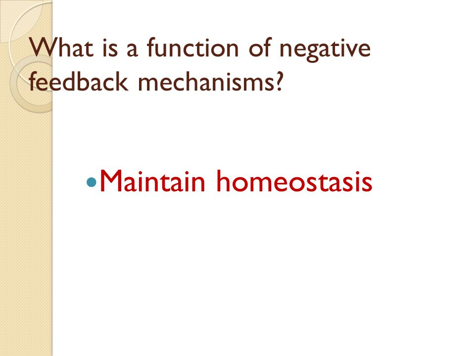 What is a function of negative feedback mechanisms