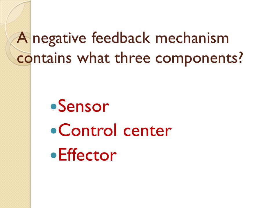 A negative feedback mechanism contains what three components