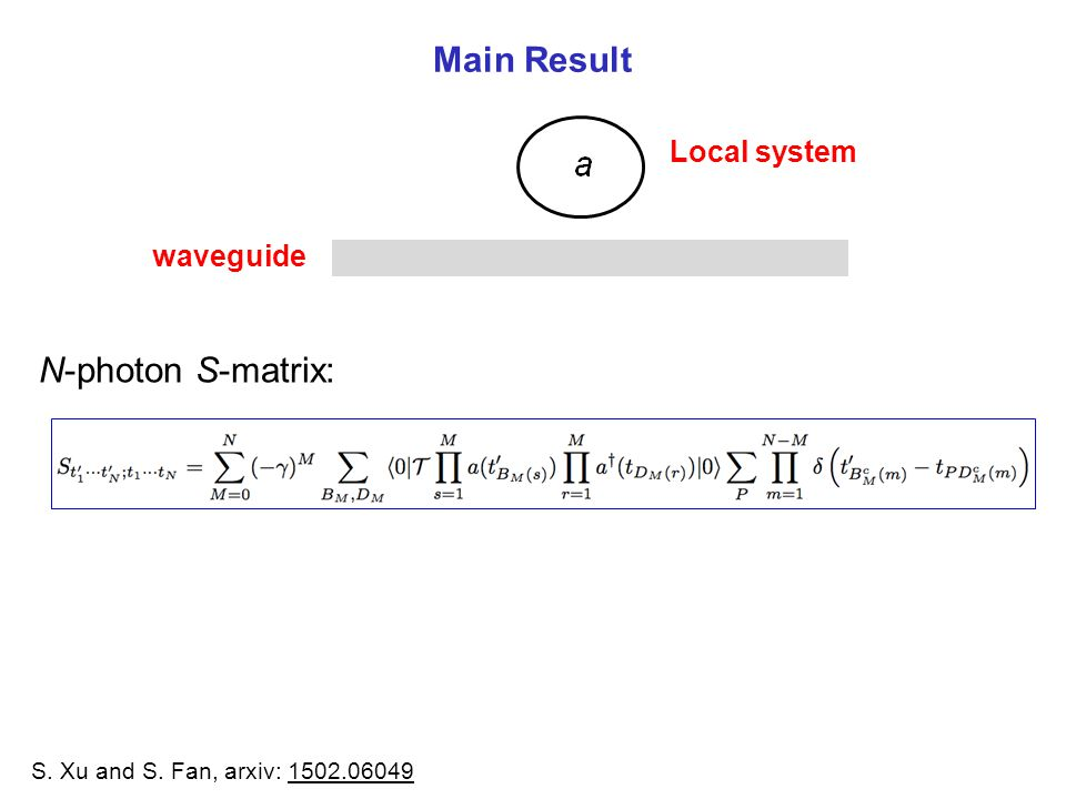 Main Result N-photon S-matrix: Local system waveguide