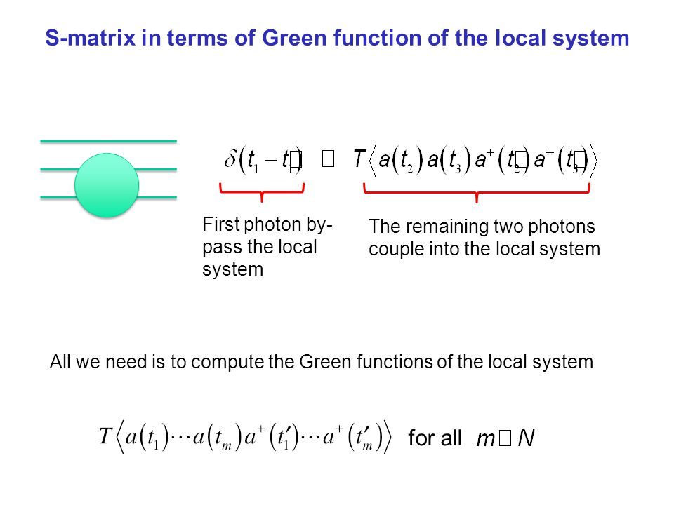 S-matrix in terms of Green function of the local system