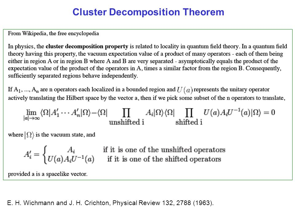 Cluster Decomposition Theorem