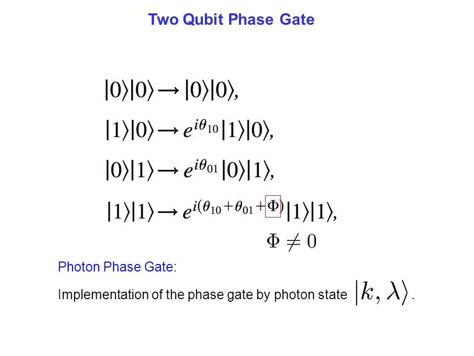 Two Qubit Phase Gate Photon Phase Gate: