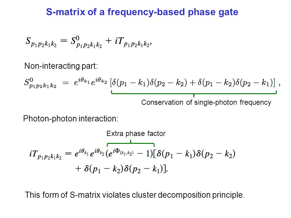 S-matrix of a frequency-based phase gate
