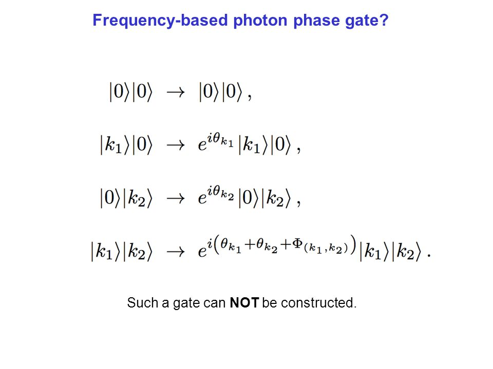 Frequency-based photon phase gate