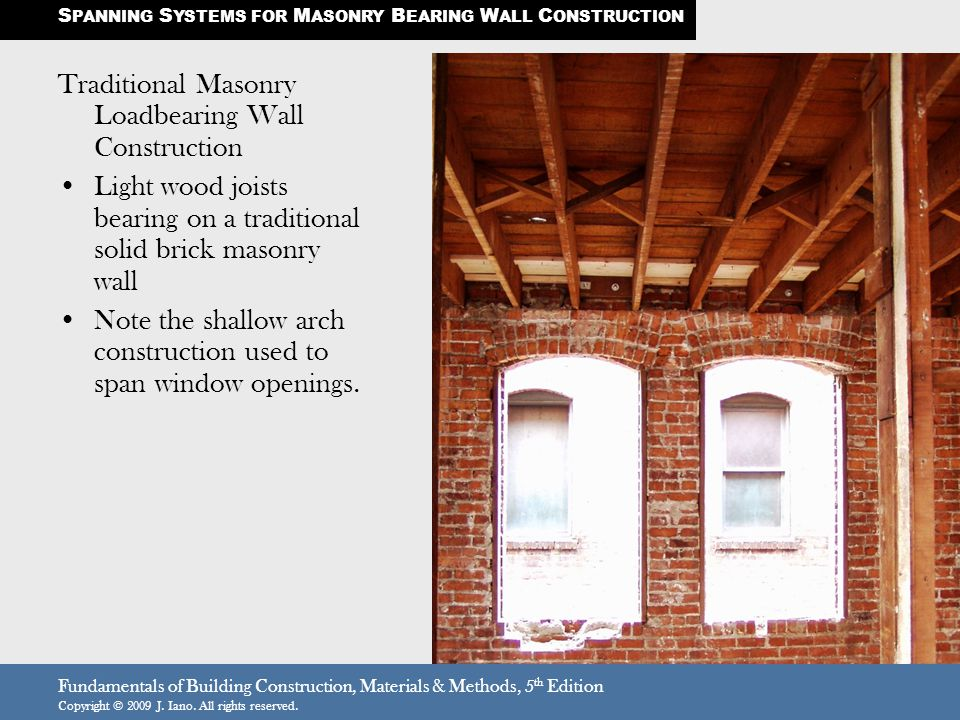 Superior Traditional Masonry Loadbearing Wall Construction