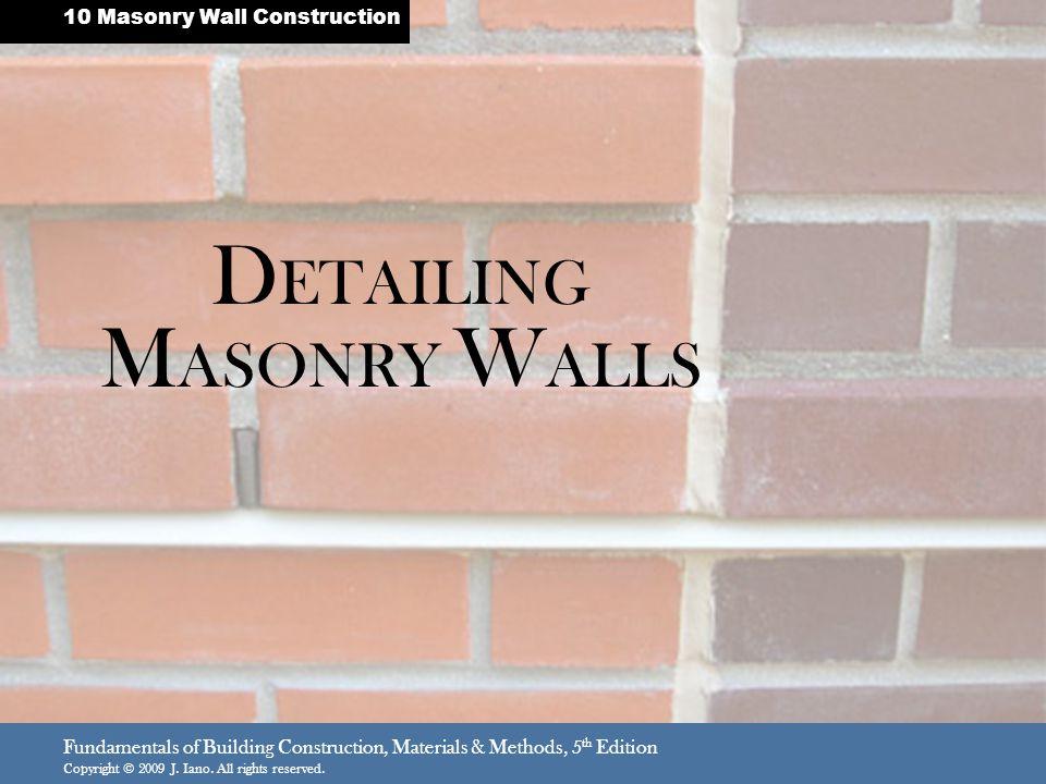 DETAILING MASONRY WALLS