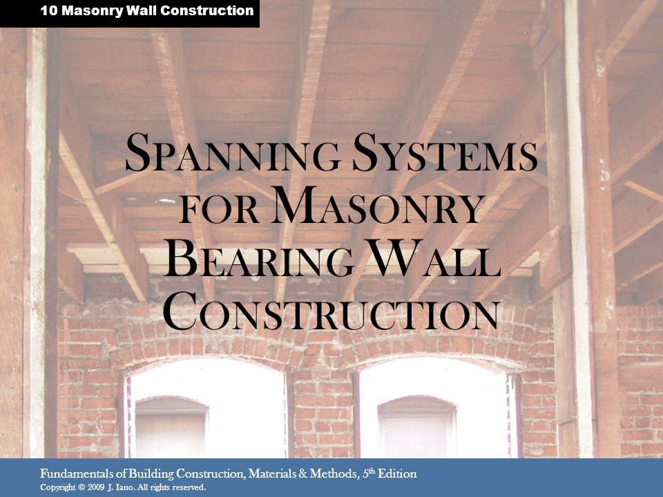 SPANNING SYSTEMS FOR MASONRY BEARING WALL CONSTRUCTION