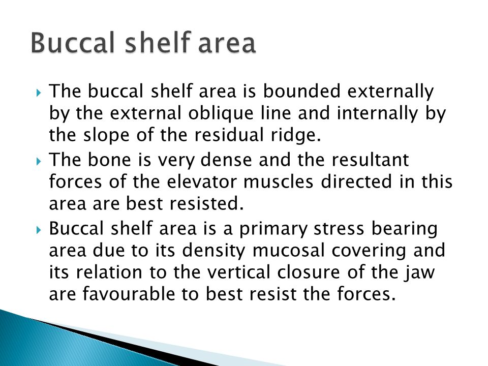 Buccal shelf area The buccal shelf area is bounded externally by the external oblique line and internally by the slope of the residual ridge.