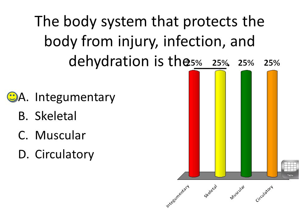 The body system that protects the body from injury, infection, and dehydration is the ____.