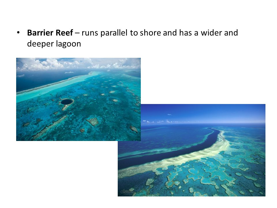 Barrier Reef – runs parallel to shore and has a wider and deeper lagoon