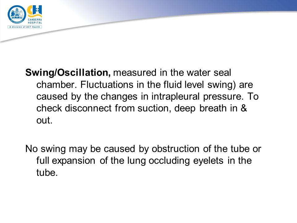 Swing/Oscillation, measured in the water seal chamber