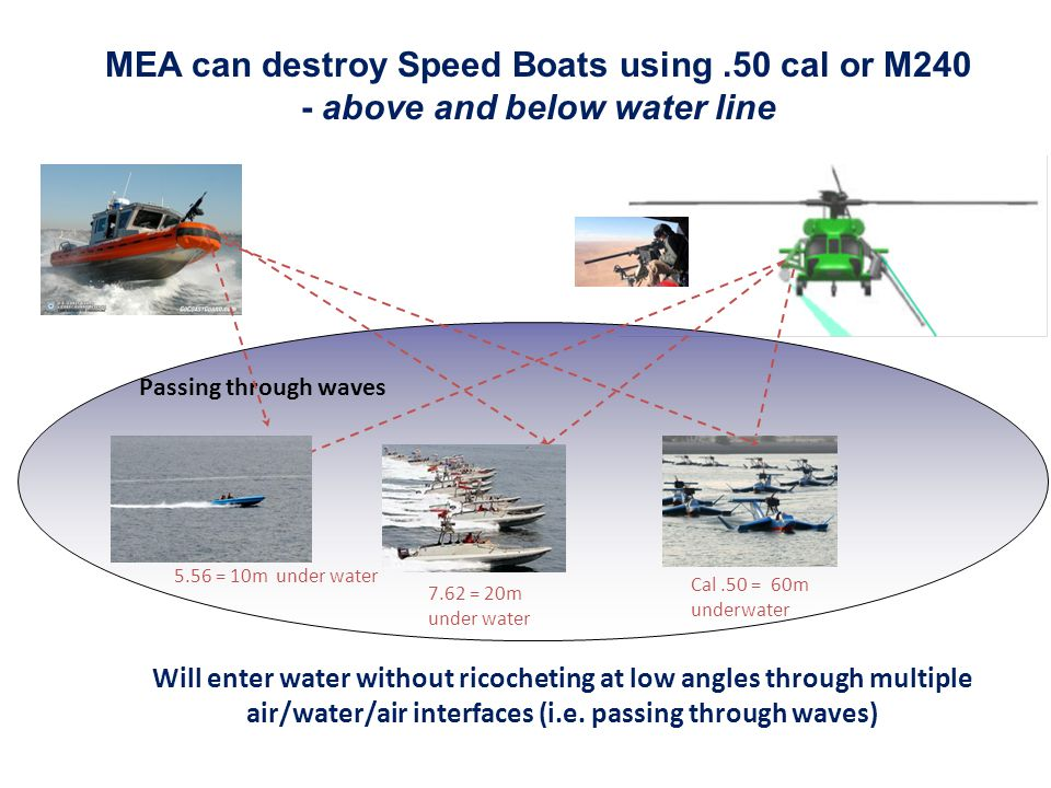 MEA can destroy Speed Boats using .50 cal or M240