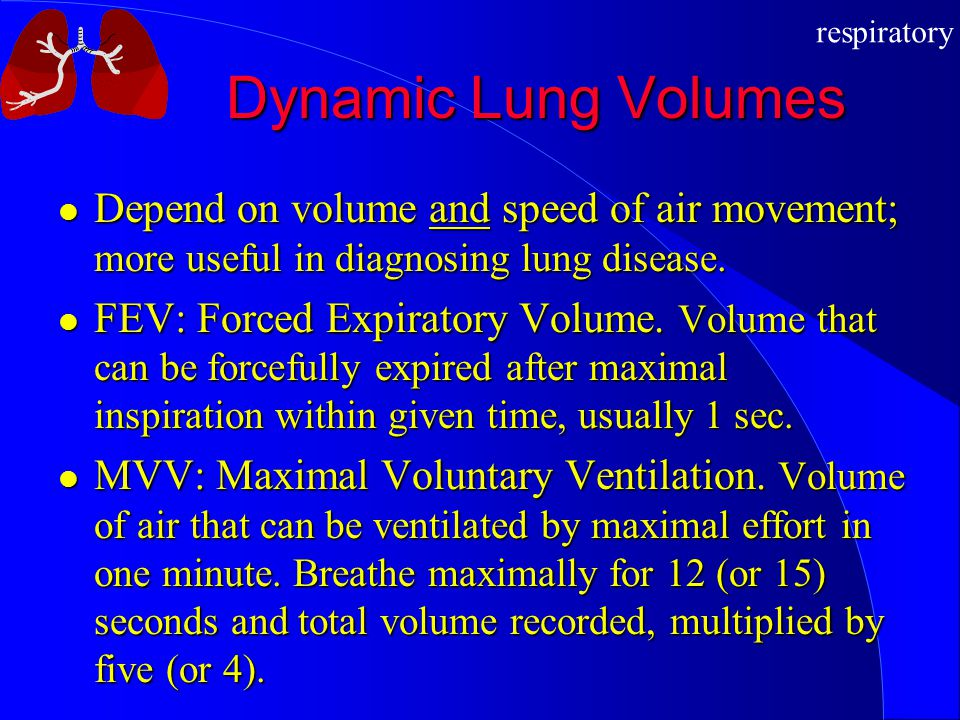 Dynamic Lung Volumes Depend on volume and speed of air movement; more useful in diagnosing lung disease.