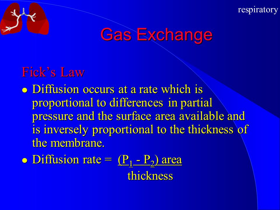 Gas Exchange Fick's Law
