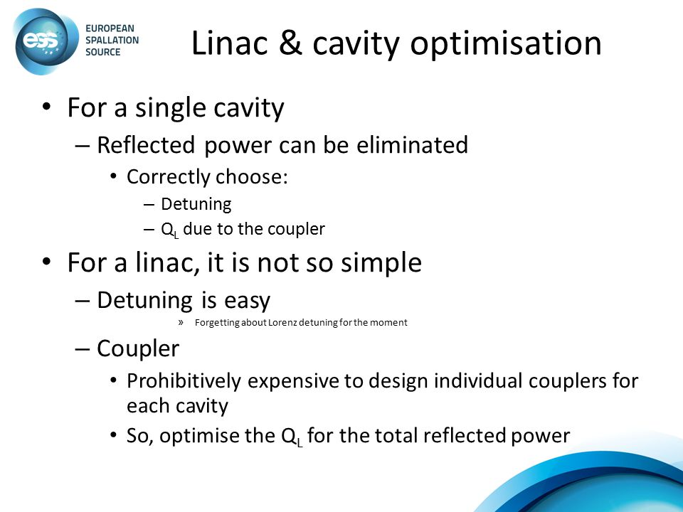 Linac & cavity optimisation