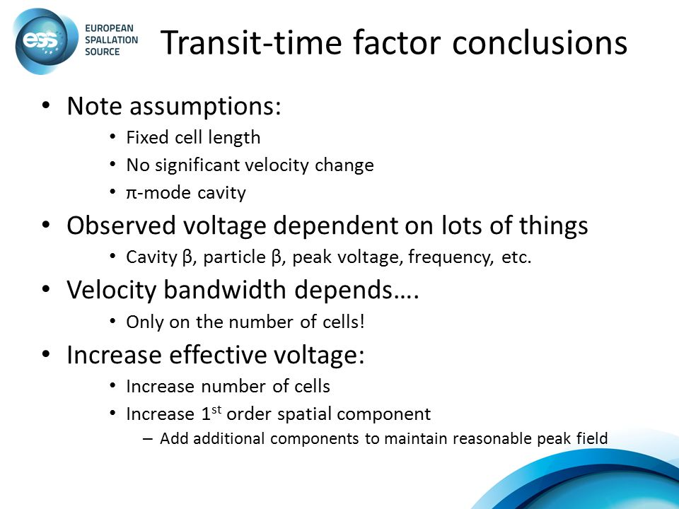 Transit-time factor conclusions