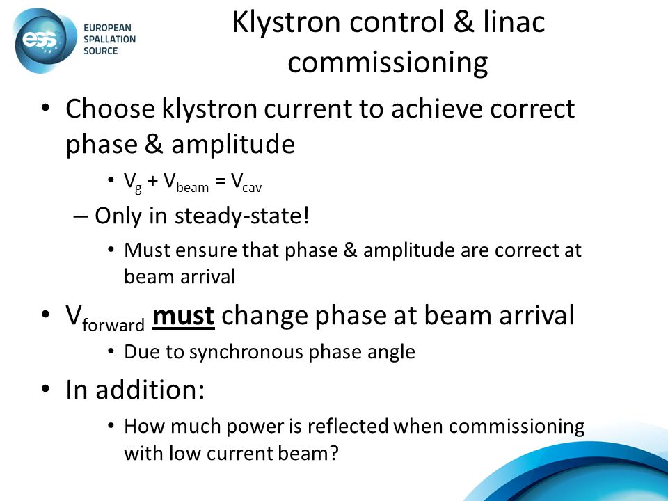 Klystron control & linac commissioning