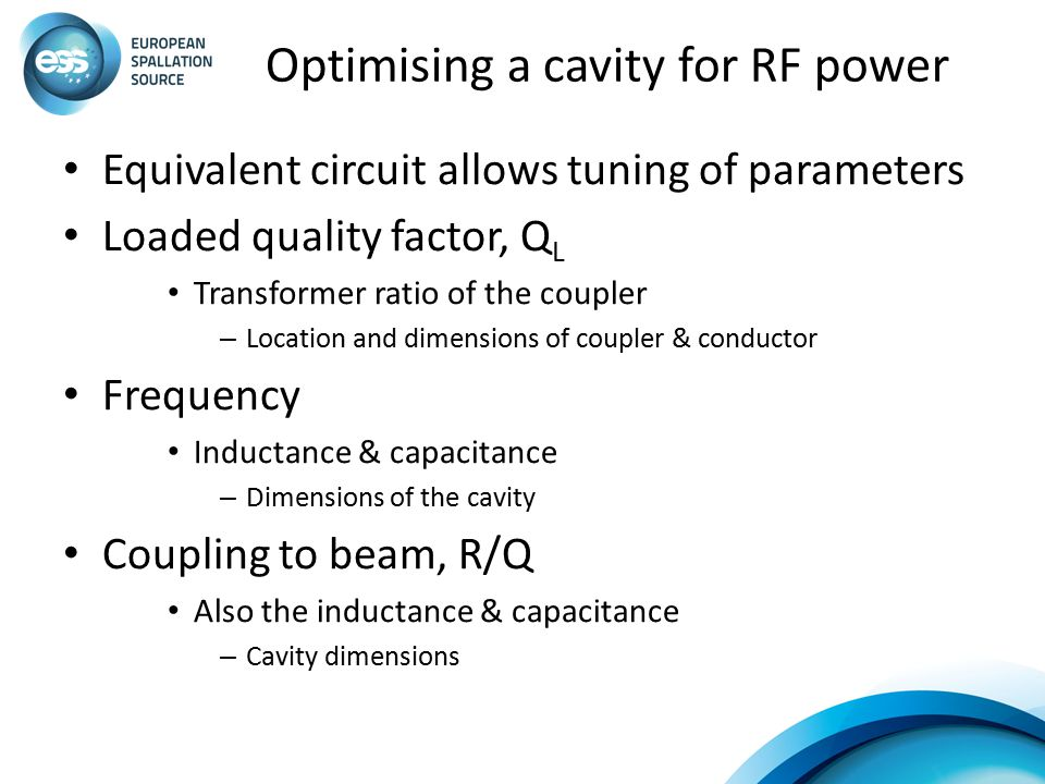 Optimising a cavity for RF power