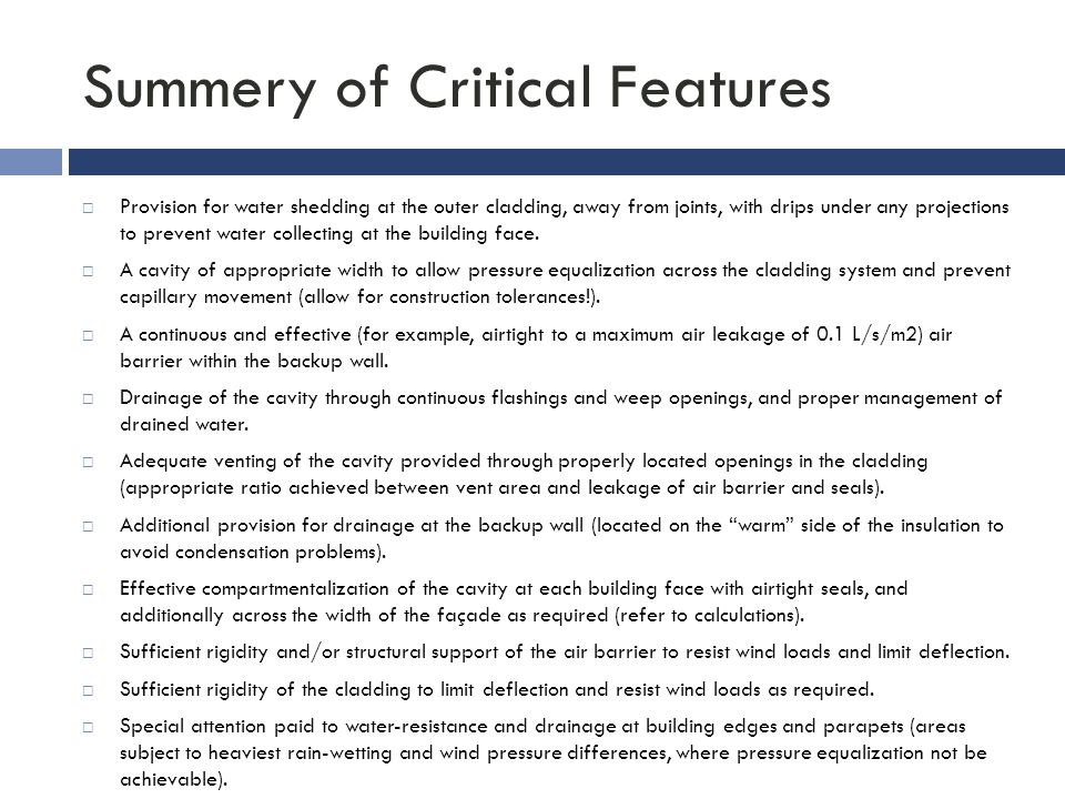 Summery of Critical Features