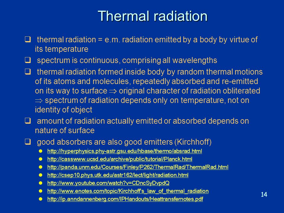Thermal radiation thermal radiation = e.m. radiation emitted by a body by virtue of its temperature.