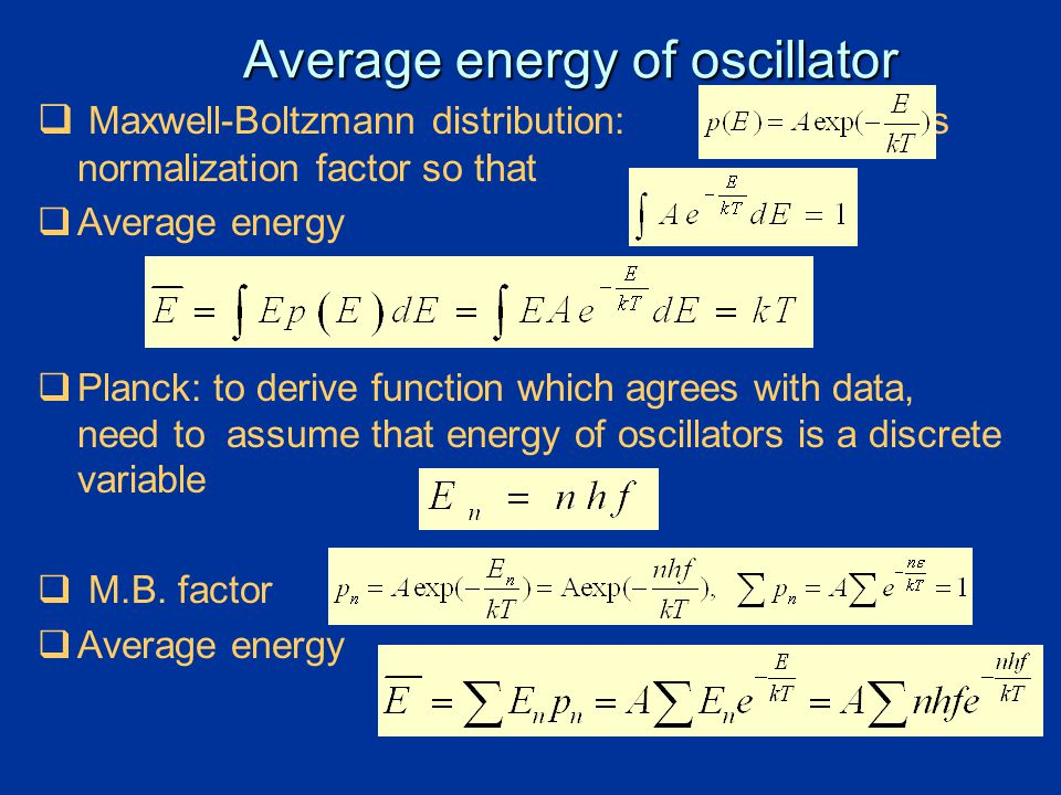 Average energy of oscillator