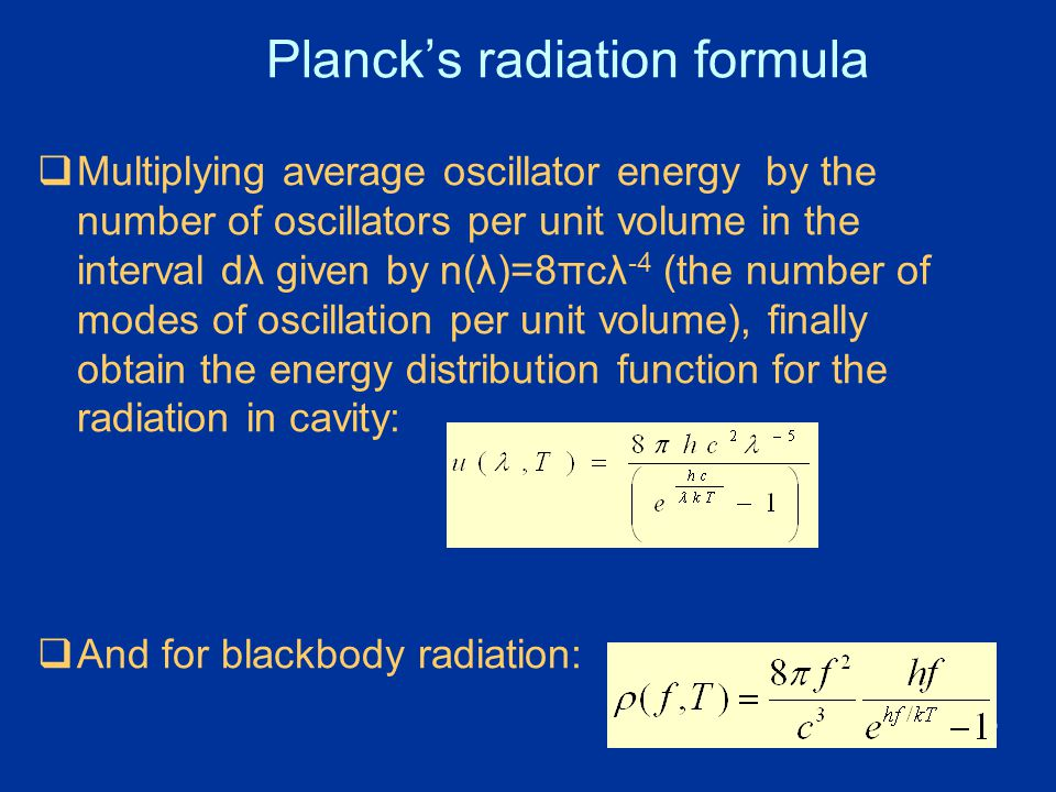 Planck's radiation formula