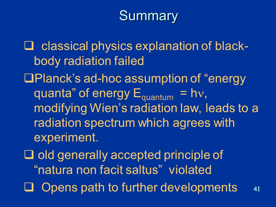 Summary classical physics explanation of black-body radiation failed
