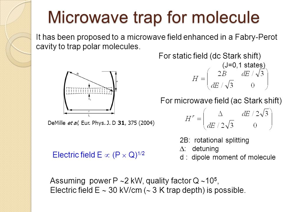 Microwave trap for molecule