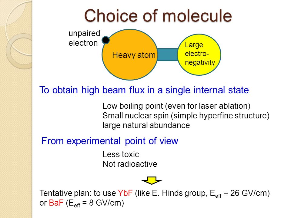 Choice of molecule To obtain high beam flux in a single internal state