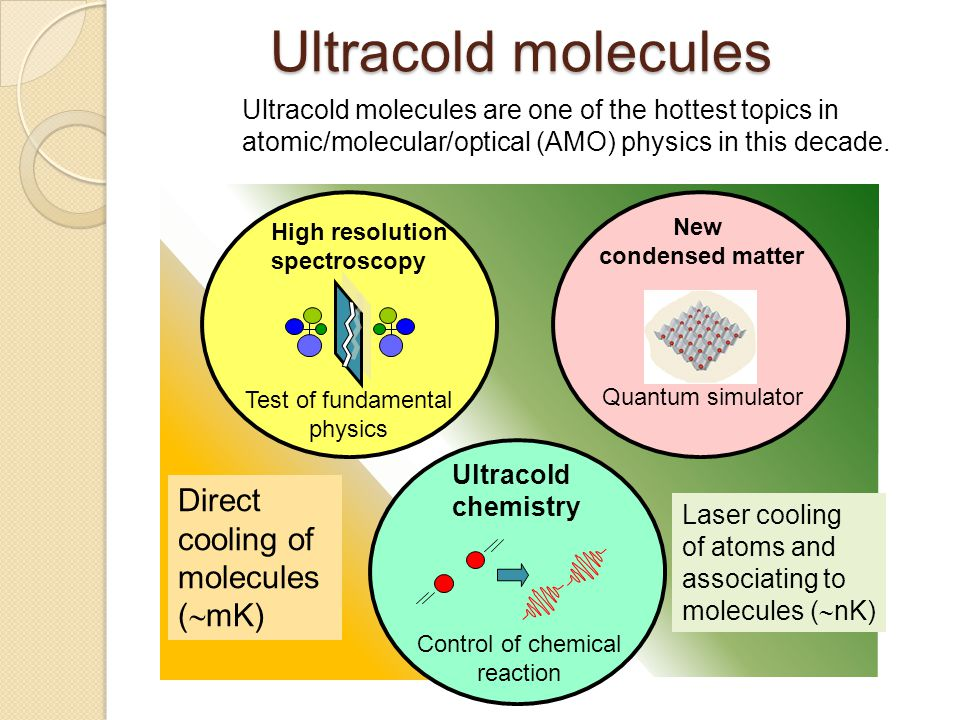 Ultracold molecules Direct cooling of molecules (mK)