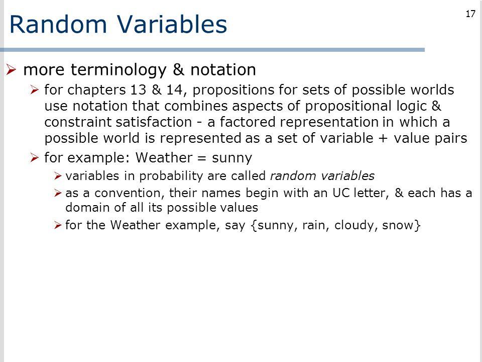 Random Variables more terminology & notation