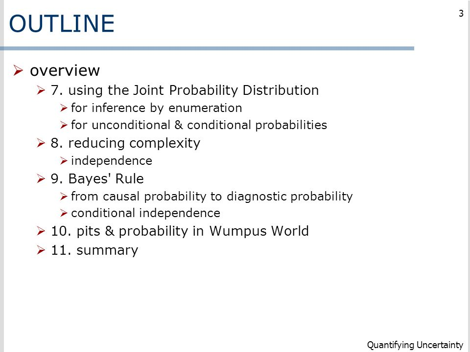 OUTLINE overview 7. using the Joint Probability Distribution