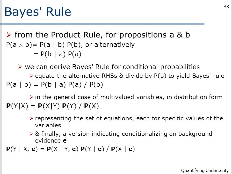 Bayes Rule from the Product Rule, for propositions a & b