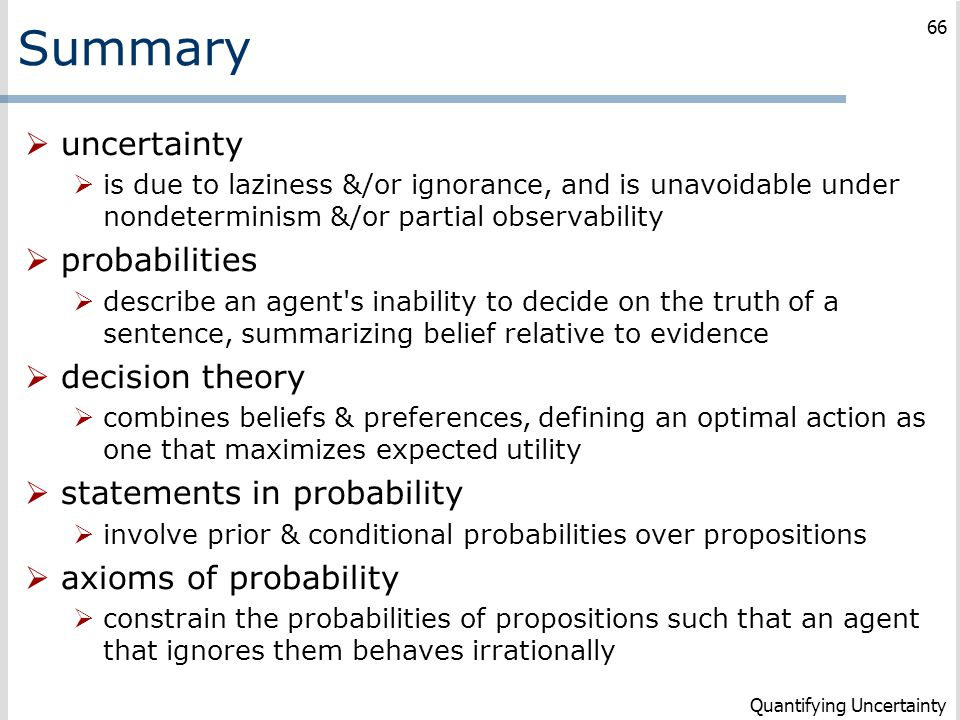 Summary uncertainty probabilities decision theory