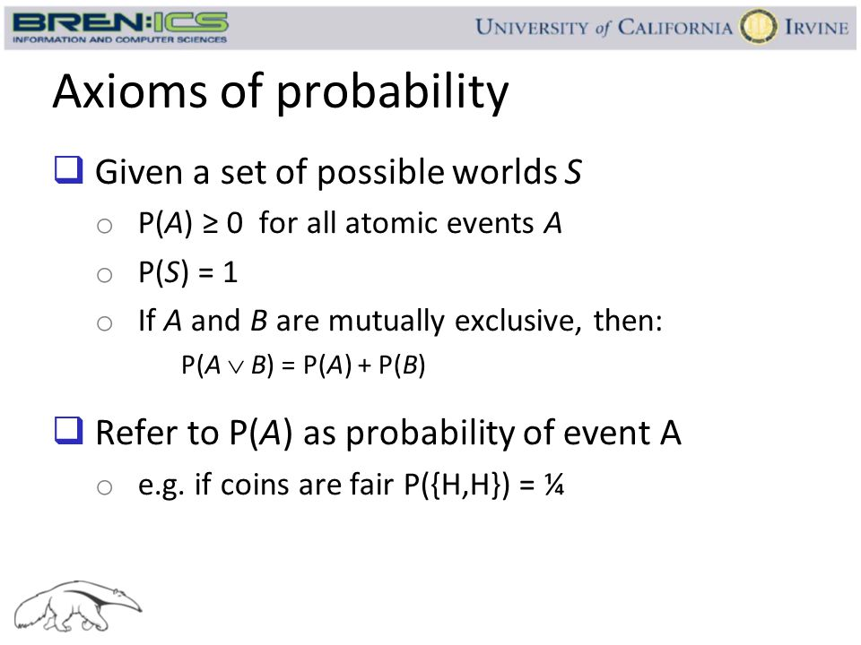 Axioms of probability Given a set of possible worlds S