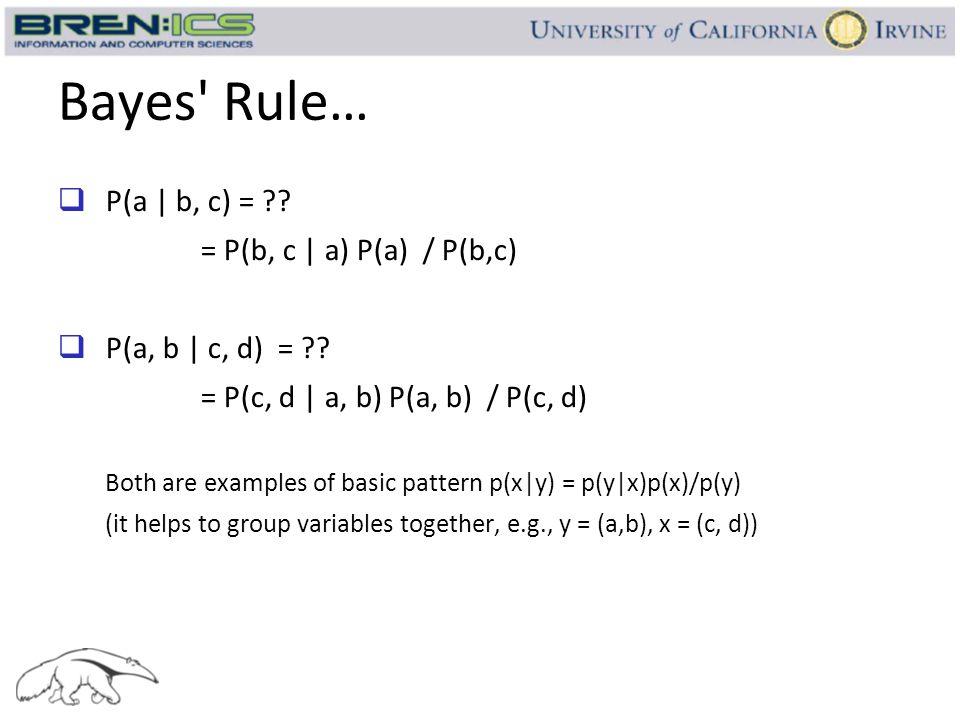 Bayes Rule… P(a | b, c) = = P(b, c | a) P(a) / P(b,c)