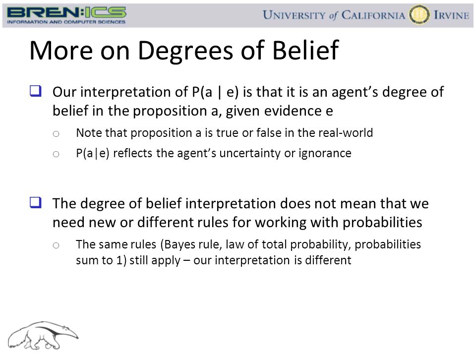 More on Degrees of Belief