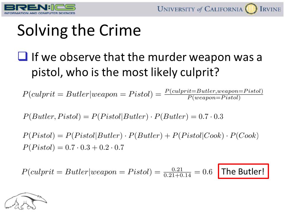 Solving the Crime If we observe that the murder weapon was a pistol, who is the most likely culprit