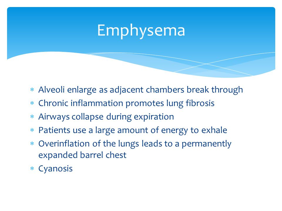 Emphysema Alveoli enlarge as adjacent chambers break through