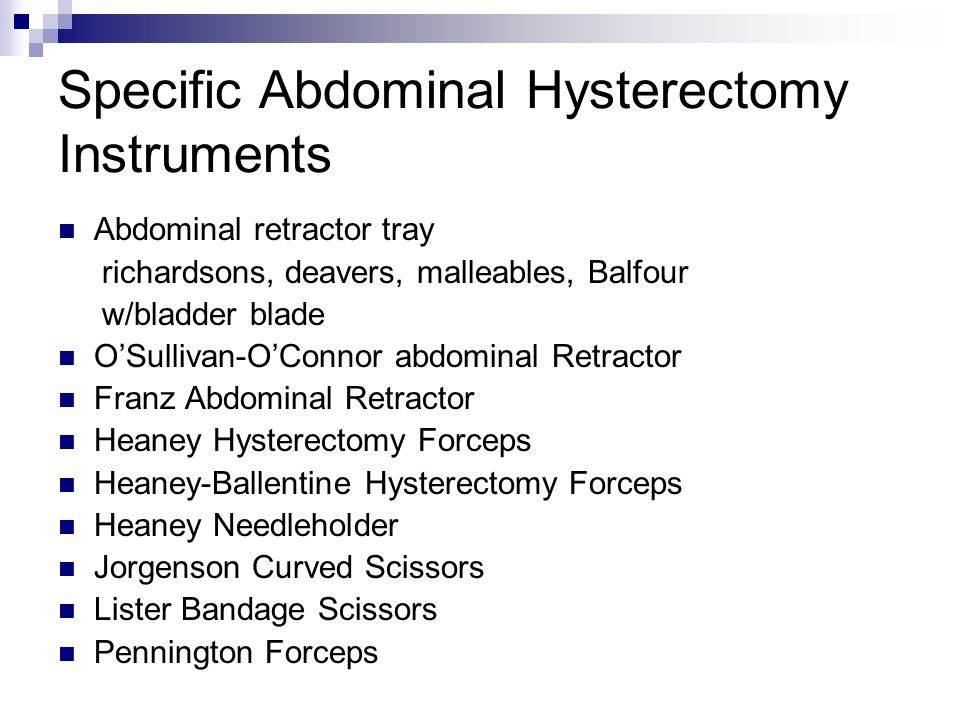 Specific Abdominal Hysterectomy Instruments